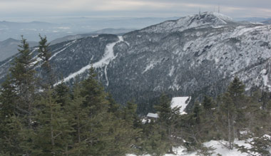 view of Stowe ski resort from mount mansfield vermont