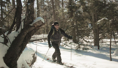 skinning up mount monadnock with a splitboard
